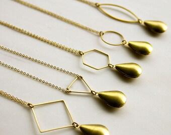 Teardrop Modern Locket, Geometric locket, bridesmaid necklace, gift for her mom wife girlfriend, delicate locket, graduation gift
