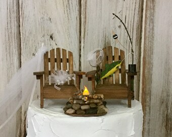 Fishing Cake Topper, Camping Fishing Trip, Fishing Pole, Bride and Groom, Lighted Campfire Wedding Cake, Rustic, Hunting Adirondack Chairs