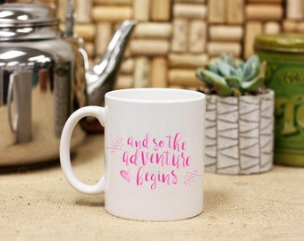 Personalized Inspirational Adventure Begins Coffee Mug, Custom Print Coffee Mug, Ceramic Coffee Mug, Graduation White Only --27122-CM03-601