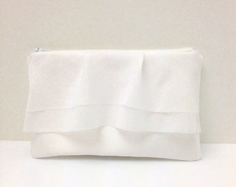 Bridal Clutch Purse Sheer Ruffle Bridesmaid Wristlet White Satin