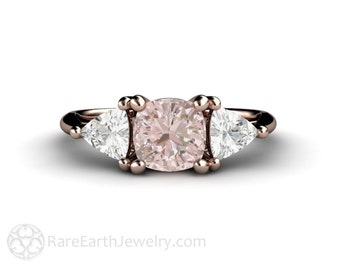Pastel Pink Sapphire Engagement Ring Cushion Cut Light Pink Sapphire Ring 3 Stone Three Stone 14K or 18K Gold or Platinum