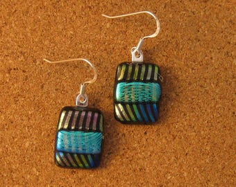 Dichroic Earrings - Dichroic Jewelry - Fused Glass Earrings - Fused Glass Jewelry - Glass Earrings - Glass Jewelry