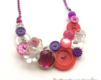 Valentine Sparkle Fun Necklace with red, pink, purple, and clear Vintage Buttons