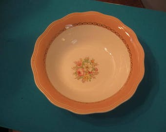 French Saxon China Bowl, Serving Bowl , Vegetable Bowl, 22 Kt. gold trimmed Bowl, Dusty Rose