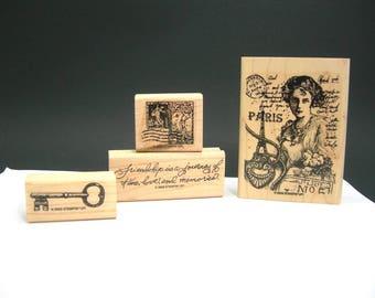 "Stampin' Up ""Nostalgic"" Rubber Stamps, 2003 Lightly Used, Friendship, Travel, Paris, Skeleton Key, Victorian Theme, Plastic Clamshell Holder"