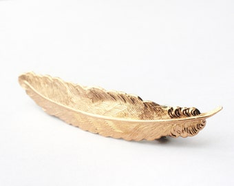 Feather hair clip rose gold plume barrette vintage style bridal wedding hair accessory whimsical retro