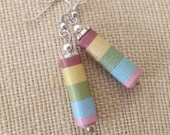 Upcycled Striped Paper Bead Earrings, Ln472, Light weight, Recycled, Reclaimed Jewelry, by Lynn