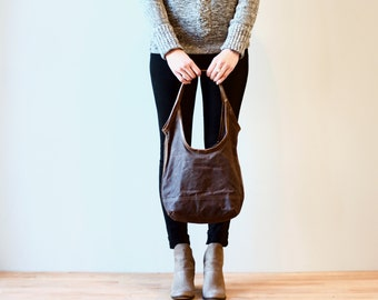 sale - waxed canvas SLING - small or medium - slouchy bag - light canvas tote