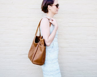 MINIMAL Pocket Tote  with matching clutch -  soft veg tanned leather tote - soft leather shoulder bag - large leather tote
