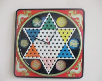 Vintage Chinese Checker Clock - Game Room - Repurposed and Upcycled Home Decor