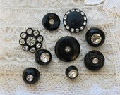 Assorted Vintage Rhinestone Buttons Set in Black Plastic & Metal...Black Buttons with Clear Rhinestones...Lot of 9...Sewing, Jewelry Supply