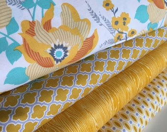 Sale Fabric Bundle of 4, Fabric by the Yard, Quilting Fabric, Yellow Mustard fabric- Choose the cuts, Free Shipping Available