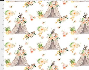 Floral Aztec Teepee Feathers Boho Cream Coral & Peach Baby Nursery Crib Bedding Set CHOOSE and CUSTOMIZE