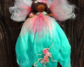 Needle felted World Fairy - with blues,  pinks and she has dark skin and brwon hair - Waldorf inspired  By Rebecca Varon
