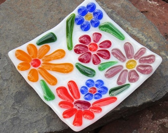Square Sloped Bright Colorful Flowers Fused Glass Dish
