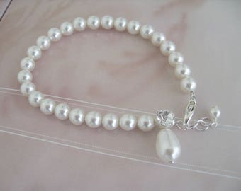 Bridal Jewelry Wedding Jewelry Bridal Accessories Bride Bridesmaids Pearl  and Rhinestone bracelet