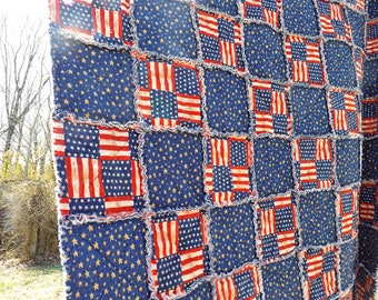 Rag Quilt - American Flag and Stars Lap Quilt - red, blue - Patriotic Stars and Stripes - Large Lap Quilt - Handmade