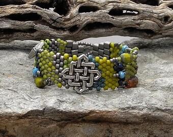 Jewelry - Free Form Peyote Stitch Beaded Bracelet  - Bead Weaving - Celtic Power - BOHO