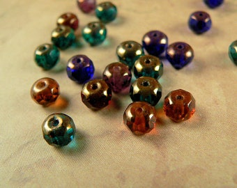 Czech Glass Bead Gemstone Rondell Donut Fire Polished Copper Dark Multicolor Mix 4x6mm (25)