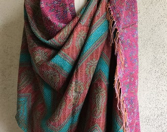 Gorgeous pink and turquoise kantha silk shawl