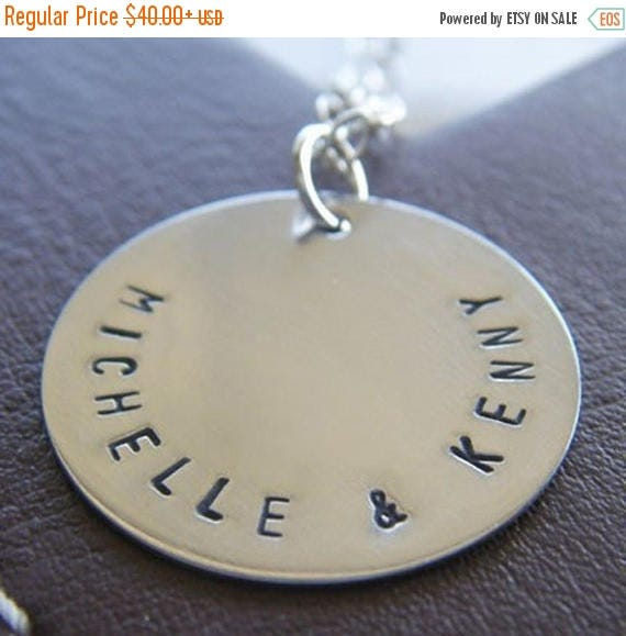 """Mothers Day Sale - Custom Charm Necklace - Personalized Sterling Silver Hand Stamped Jewelry - Single 1"""" Charm with Names and Optional Birth"""