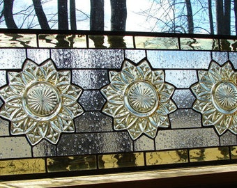 stained glass panel amber Sunflower Transom window with antique plates