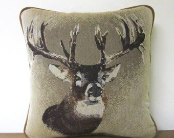 Cabin Pillow Lodge Pillow Trophy Buck Tapestry Pillow Gift for Dad Deer Hunter Throw Pillow Decorator Woodlands Whitetail Deer