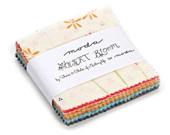 SQ08 Moda DESERT BLOOM Precut MINI Charm Pack Fabric Quilting Cotton Squares 37520MC