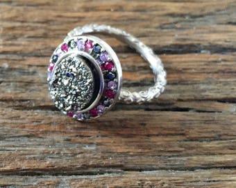 Dara Ettinger BETH Druzy Ring in Silver/ Pink Multi sz 6