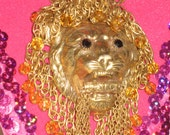 Vintage 1970's Lion Gold Tone Necklace ECS
