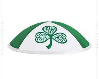 Irish Celtic Jewish kippah yarmulke. Shamrock.