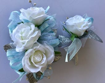 CUSTOM ORDER Light Blue 2 Corsages & 1 Boutonniere  (artificial  flowers)
