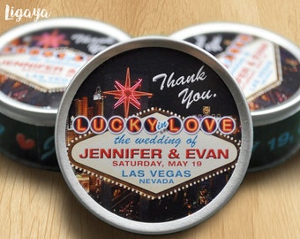 Custom Las Vegas Wedding Favor Tins - 25