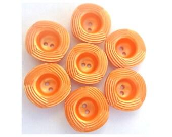 6 Vintage plastic buttons, 20mm, orange, square shape