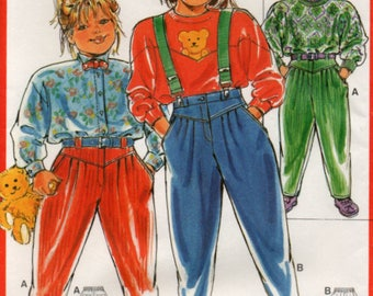 1980s Sizes 2 to 10 years  Childs Trousers Pants Sewing Pattern Burda 6192 Euro sizes 86 to 140