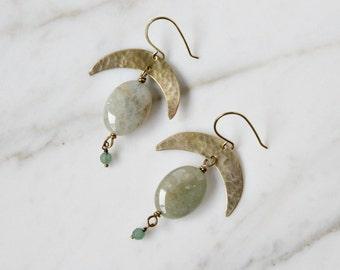 Boho crescent moon earrings, green aquamarine & aventurine gemstones, mystic moon celestial earrings