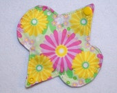"""Ultrathin Waterproof 5"""" Petite liner - Pink and Yellow Floral - Reusable Cloth Menstrual Pad (5LUC)"""