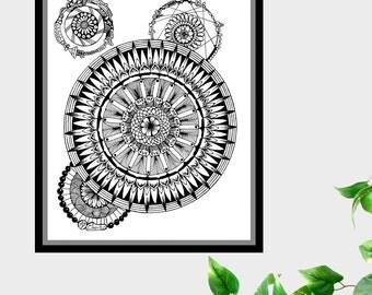 Mandalas #1 Original Pen and Ink Drawing Doodle 8 X 10