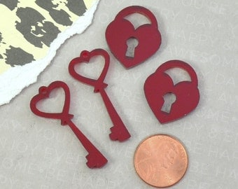 LOCK And KEY CABOCHONS -  Red Mirror  - Laser Cut Acrylic - 4 pieces - Deco - Phone Case