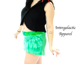 Green Tie dyed mini skirt with a pocket
