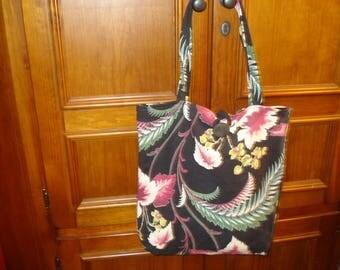 Vintage Barkcloth Tote Bag, Shopping, Market, Handmade, Vintage Fabric, Shoulder Straps