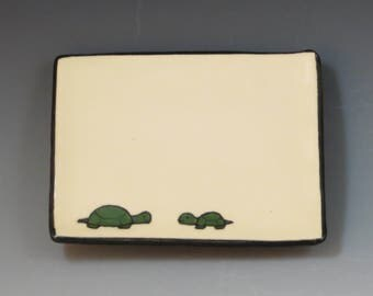 Handbuilt Ceramic Soap Dish with Turtles