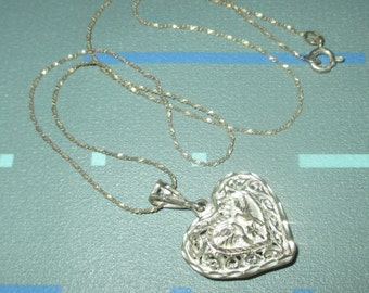 Vintage Sweet Sterling Silver Heart with Birds Filigree Pendant Necklace