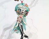 Sugar skull Mermaid Spun Cotton Ornament---Christmas Holiday Hand painted Doll Decoration OOAK