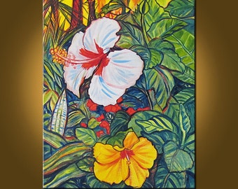 Hibiscus Garden -- 16 x 20 inch Original Oil Painting by Elizabeth Graf on Etsy -- Art Painting, Art & Collectibles