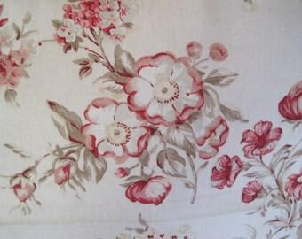 Home Decor Fabric Floral on Natural Linen Background 5th Avenue Designs Covington 1 3/8 Yards Cotton