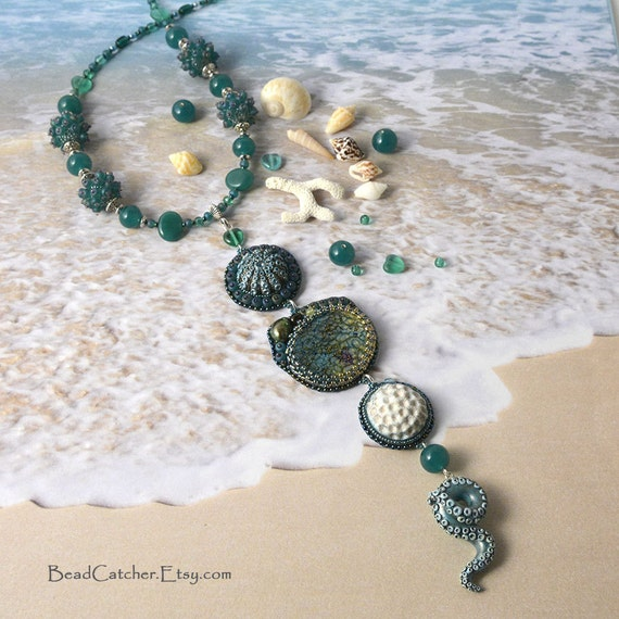 I love YOU, Ocean. Necklace. Coral, octopus, sea urchin, anemone. Ocean life, beach, sand.