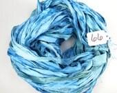 Sari Silk Ribbon, Recycled Silk Sari Ribbon, China Blue Ribbon, blue sari ribbon, weaving supply, knitting supply, felting supply, ribbon
