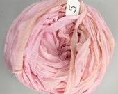 Silk sari ribbon, Silk CHIFFON Sari Ribbon, Pink chiffon sari ribbon, pink sari ribbon, Tassel supply, knitting supply, pink ribbon