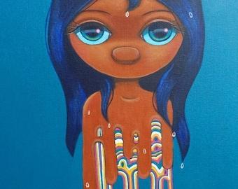 ORIGINAL Acrylic Painting Psychedelic Art Drip Big Eye Wide Surreal Chicasol Tamia